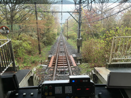 From the front of the train of Hakone Tozan Railway, Japan