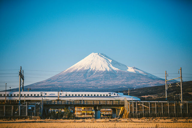 Shinkansen flying past Mt Fuji, Japan