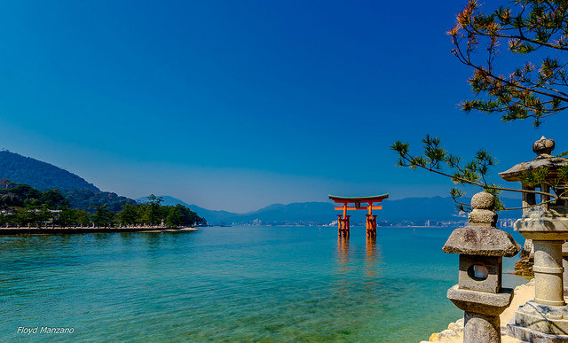 The floating Great Torii Gate, Miyajima Island, Japan